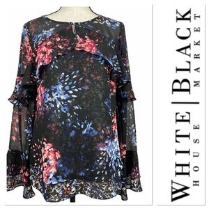 White House Black Market top w red and blue